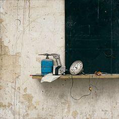 Cesar Galicia: Boceto de naturaleza muerta en Téllez, 1987 Óleo sobre tabla, 105 x 105 cm