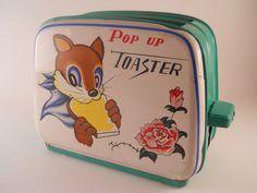 Vintage 60s Child's Toy Tin Toaster by Kanto Toys of Japan