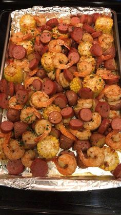 Ingredients: 1 tablespoon Cajun or Creole seasoning 24 pound) cleaned large shrimp 3 ounces fully cooked Turkey/Chicken Andouille sausage (Applegate), very thinly sliced 1 medium zucchini ounces each), sliced into thick rounds 1 large red bell pepper, Seafood Boil Recipes, Seafood Dishes, Cajun Shrimp Recipes, Meals With Shrimp, Spicy Shrimp, Sausage And Shrimp Recipes, Shrimp Boil In Oven, Shrimp Bake, Cajun Seafood Boil