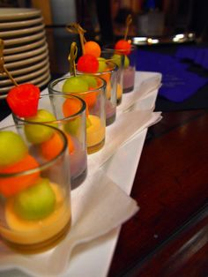 Melon Ball Shooters passed during cocktail hour and offered in all wedding packages. Great for spring and summer weddings!