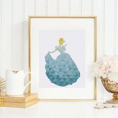 Cinderella cross stitch pattern Geometric Modern Disney Princess design