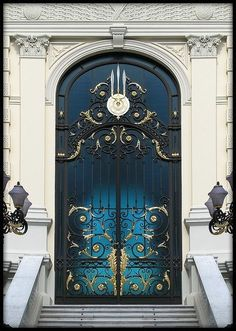 The front door may be an ideal means to reveal the attractiveness of a house. As such it's necessary to have an ideal door design that appeals to guests. Although a traditional front door will serv… Grand Entrance, Entrance Doors, Doorway, House Entrance, The Doors, Windows And Doors, Front Doors, Royal Doors, Art Nouveau