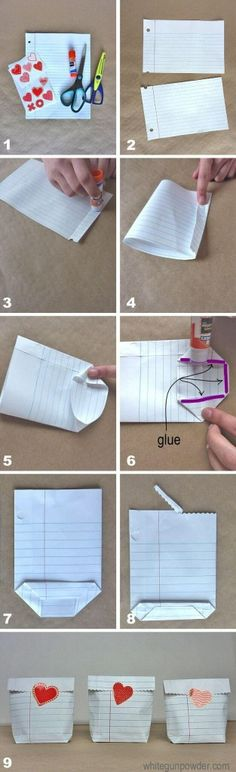 diy notebook paper bags ~ this is totally cool for a teacher's gift or valentines :D . and if you change paper for small Xmas gifts Notebook Diy, Notebook Paper, Valentine Treats, Valentines Diy, Diy Valentine's Treat Bags, Diy Valentine's Treats, Valentines Bricolage, Papier Diy, Ideias Diy