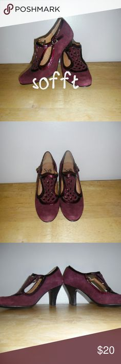 Burgundy caged heels sz 6.5 Sofft burgundy caged heels sz 6.5. Suede and patent leather. 3 inch heel. Sofft Shoes Heels
