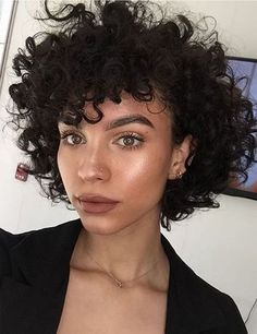 Short Kinky Curly Wig with Bangs Synthetic Hair Capless Wigs – Frisuren Short Natural Curly Hair, Curly Hair With Bangs, Wigs With Bangs, Curly Hair Cuts, Hairstyles With Bangs, Short Hair Cuts, Curly Hair Styles, Natural Hair Styles, Curly Bob