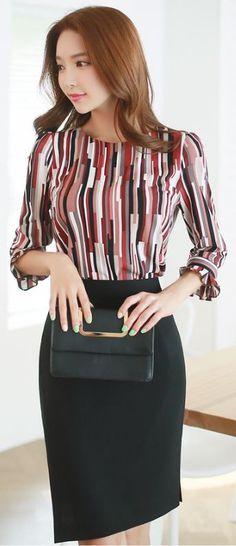 StyleOnme_Asymmetrical Hem Pencil Skirt #black #assymetric #skirt #workwear…