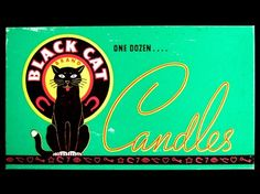 Vintage Halloween Ephemera ~ Black Cat Brand Candles Box by King Novelty Co. Chicago Ill. * Circa, 1930's-1940's