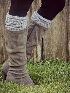Hand Knit Boot Cuff/Topper - Intertwined boot cufftopp, knit boots, knitted boot cuffs, hand knit, knit boot cuffs