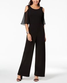 Connected Petite Chiffon Cold-Shoulder Jumpsuit in 2019 Products dressy jumpsuits petite woman - Woman Jumpsuits Petite Jumpsuit, Jumpsuit Dressy, Jumpsuit Outfit, Jumpsuit With Sleeves, Dressy Jumpsuit Wedding, Palazzo Jumpsuit, Jumpsuit Style, Petite Women, Review Dresses