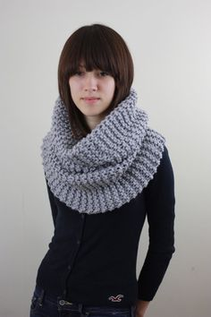 Grey Chunky Knit Cowl Neck Scarf--definitely my fall/winter knitting project for this year