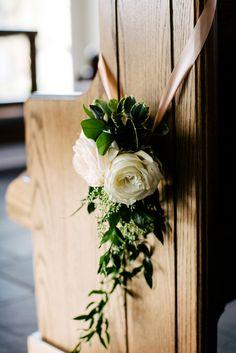 Church Pew Decor // Whimsical & Romantic South Carolina Wedding via TheELD.com