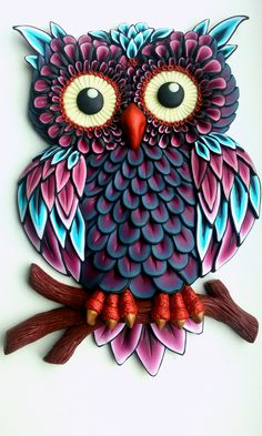Quilled paper art colourful owl handmade artwork paper wall art home decor wall decor home decoration quilled art – ArtofitI am so looking forward to making this. Whoever submitted this pin, beautiful work, BlessingsOwl turquoise and purple. Quilled Paper Art, Paper Owls, Quilling Paper Craft, Owl Crafts, Clay Crafts, Arts And Crafts, Quilling Patterns, Quilling Designs, Owl Patterns