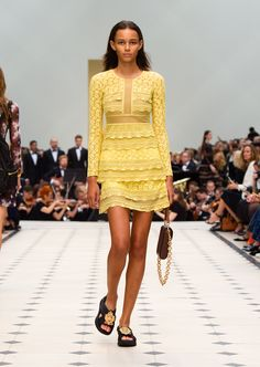 Pale citrus tiered lace shift dress with The Belt Bag in Oblong. Discover the collection at Burberry.com