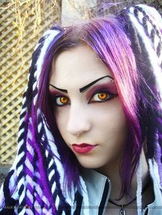 Great Cyber-goth girl image with contrasting contacts and cool eyebrow work