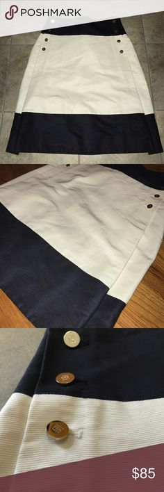 🌟GORGEOUS CAROLINA HERRERA SKIRT!🌟 Navy blue & cream color blocked skirt, zips up side, golden buttons down both sides, perfect condition! Carolina Herrera, size 4. Carolina Herrera Skirts Midi