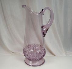 """EAPG Sun Purple Glass Pitcher 11.75"""" Tall"""