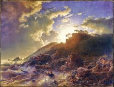 Sunset after a Storm on the Coast of Sicily. Andreas Achenbach (German, Kassel Düsseldorf) Oil on canvas. Metropolitan Museum of Art. Fine Art Prints, Canvas Prints, Canvas Art, Italy Painting, Painting Art, European Paintings, Prince, Metropolitan Museum, Heritage Image
