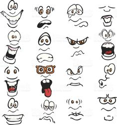 Cartoon Expressions royalty-free stock vector art Angry Cartoon Face, Cartoon Faces Expressions, Funny Cartoon Faces, Cartoon Expression, Drawing Cartoon Characters, Silly Faces, Drawing Expressions, Cartoon Drawings, Cartoon Mouths