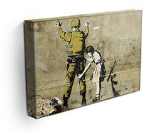 Our Banksy Girl and Soldier canvas print, makes a beautiful addition to any room. Comes ready to hang and also available as a poster Banksy Canvas Prints, Best Canvas Prints, Modern Canvas Art, Canvas Wall Art, Paintings, Boys, Poster, Baby Boys, Paint