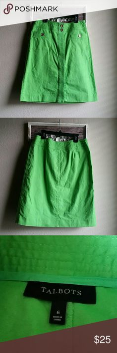Talbots bright green skirt Excellent condition,  bright green with gold buttons, buttons down the front with two buttons visible,  two front pockets. Laying flat the waist measures 15 and length is 21 Talbots Skirts