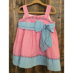 Rare Editions Pink & Blue Seersucker Dress with Bloomers Size 18m
