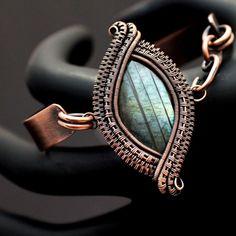 Labradorite Wire Wrap Copper Bangle Bracelet
