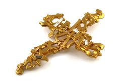 Vintage CHRISTIAN LACROIX Spelled Abstract Rhinestone Cross