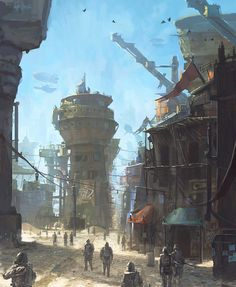 Developing city on the edge of the war front (note: warships in the sky).