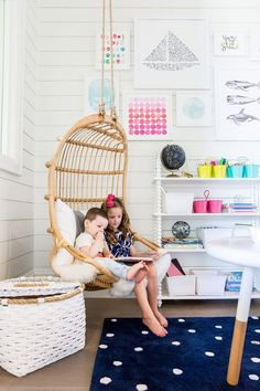 Image via Ivory Lane   Hanging Rattan Chair, Rope Baskets, Riley Play Table