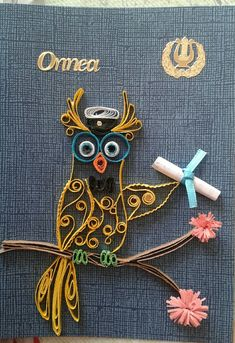 Gratuation card with owl by quilling