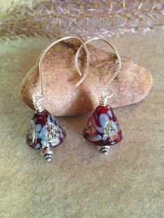 Red Lampwork Glass EarringsGlass Dangle by LadonnaStudio on Etsy, $42.00