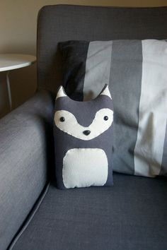 Three Woodland Plush Pillows - Your Choice - Fox, Badger, Wolf, Bear, Raccoon. $95.00, via Etsy.