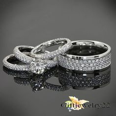 2.80 CT His Her Bridal Diamond Engagement Wedding Trio Ring Set 14K White Gold #giftjewelry22