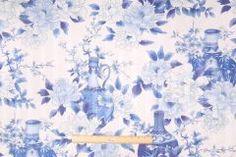 Robert Allen Katsura Printed Cotton Jacquard Drapery Fabric in Porcelain $9.95 per yard
