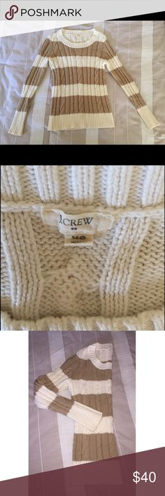 J. Crew stripe fisherman sweater 100% cotton - excellent condition - cream and tan - super comfy J. Crew Sweaters