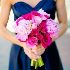 #modern wedding #fuchsia wedding #navy and pink wedding Pink Peonies,Tulips & Calla Lilies, Fuchsia Roses. Please follow Sweet Melinda's Vintage (http://www.pinterest.com/sweetmelindas/) for all of your Wedding Inspiration