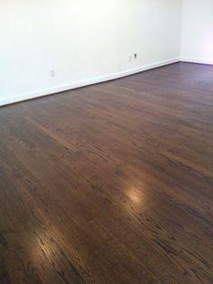 Newly Sanded 2 Red Oak Hardwood Flooring Minwax Espresso
