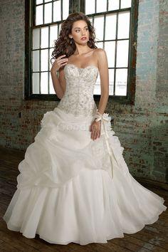 Robe de mariée elégant & luxueux traîne longue avec broderie longueur ras du sol sans manches - photo 1