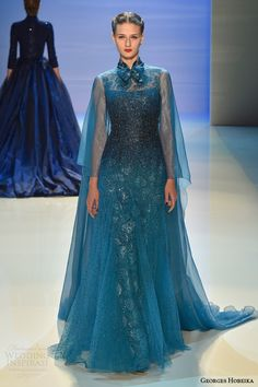 teal dress with floaty cape - Georges Hobeika Fall/Winter Couture Collection Couture Mode, Style Couture, Couture Fashion, Runway Fashion, Georges Hobeika, Pretty Outfits, Pretty Dresses, Fashion Week, Fashion Show