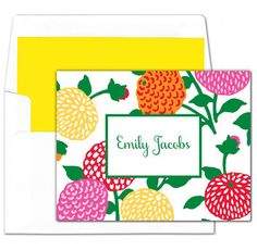 Colorful Mum Foldover Note Cards