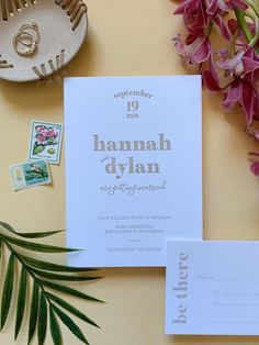 These letterpress wedding invitations were created for a modern California wedding - inspired by one of my favorite Bachelor couples!  Taupe letterpress with a unique modern monogram. These invitations are printed on double thick, luxe cotton cardstock - order a sample to feel the quality in person!
