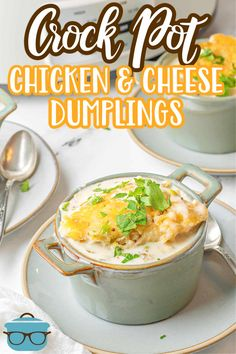 Cooked low and slow, this tasty Crock Pot Chicken and Cheese Dumplings is a deliciously flavorful recipe that is made with simple ingredients and is pure comfort food! Crockpot Dishes, Crock Pot Slow Cooker, Crock Pot Cooking, Slow Cooker Chicken, Slow Cooker Recipes, Crockpot Recipes, Soup Recipes, Cooking Recipes, Recipies