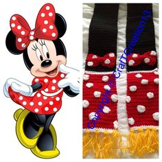 Show off the cutest couple ever with your very own Minnie Mouse and Mickey Mouse inspired Scarf today! I make all scarves long enough to wrap around the neck :) Crochet Scarves, Crochet Clothes, Crochet For Kids, Crochet Baby, Funny Crochet, Crochet Crafts, Crochet Projects, Mouse Crafts, Crochet Disney