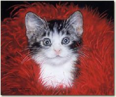 """""""Frazier in Red Boa"""" canvas giclee by Lesley Harrison"""
