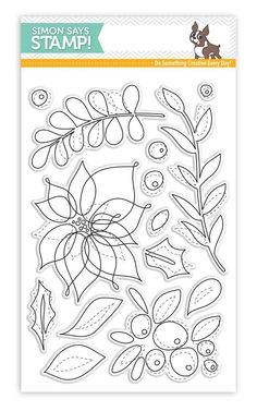 New from our Believe In The Season collection. Simon Says Stamp clear stamps are high quality photopolymer and made in the USA. The stamp set measures 4 inches x 5 inches. These stamps coordinate with the Winter Flowers wafer die set. Christmas Flowers, Winter Flowers, Red Flowers, Whimsy Stamps, Mft Stamps, Line Art Design, Christmas Stickers, Botanical Drawings, Floral Illustrations