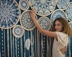 Giant dream catcher wall hanging, bohemian wedding photo backdrop, crochet dreamcatcher, boho wedding decor, luxury photo background