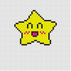 Crazy Happy Star Perler Bead Pattern | Bead Sprites | Characters Fuse Bead Patterns