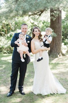 bride and groom with flower girl and ring bearer Wedding Picture Poses, Wedding Pictures, Wedding Ideas, July Wedding, Wedding Bride, Rustic Wedding Photography, Shot List, Casual Wedding, Ring Bearer