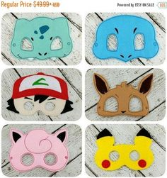 SALE Pokemon Inspired Party Pack by TwinMonkeyEmbroidery Festa Pokemon Go, Pokemon Party, Pokemon Birthday, 9th Birthday, Pokemon Halloween, Pokemon Masks, Pokemon Pokemon, Pikachu, Cumpleaños Angry Birds