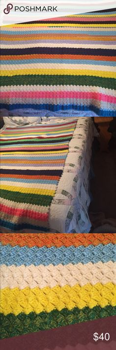 """Hand crocheted afghan super twin size Hand crafted multi color afghan to match any decor! Heavy gauge stitch very warm and cozy. Measures 58""""x42"""" more of a super twin size. Photos taken centered on a queen size bed. Other"""